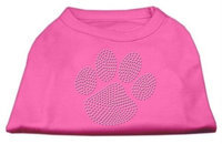 Mirage Pet Products 5255 XLBPK Clear Rhinestone Paw Shirts Bright Pink XL 16