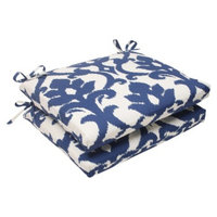 Pillow Perfect Outdoor 2-Piece Square Seat Cushion Set - Blue/White Damask