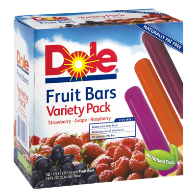 Dole Variety Pack Strawberry-Grape-Raspberry Fruit Bars - 12 CT