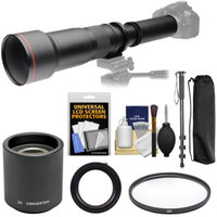 Vivitar 650-1300mm f/8-16 Telephoto Lens with 2x Teleconverter (=2600mm) + Monopod + Filter Kit for Pentax K-01, K-5 II IIs, K-7, K-30, K-50 Cameras