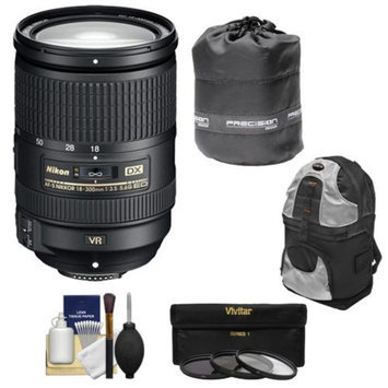 Nikon 18-300mm f/3.5-5.6G VR DX ED AF-S Nikkor-Zoom Lens with 3 (UV/ND8/CPL) Filters + Backpack + Kit for D3100, D3200, D3300, D5100, D5200, D5300, D7000, D7100 DSLR Cameras