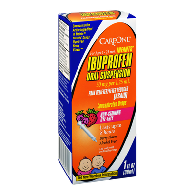 CareOne Infants' Ibuprofen Oral Suspension Non-Staining Dye-Free Concentrated Drops Berry Flavor Ages 6-23 Mos Pain Reliever/Fever Reducer