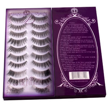 de Prettilicious False Eyelashes, 10 Style Pairs with Beauty e-book [Black]