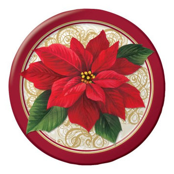 Party Central Club Pack of 96 Poinsettia Lace Ensemble Disposable Paper Party Dinner Plates 9
