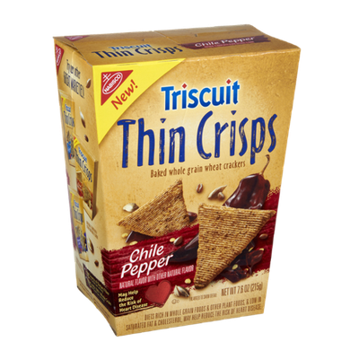 Nabisco Triscuit - Crackers - Thin Crisps Chili Pepper Baked Whole Grain Wheat