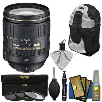 Nikon 24-120mm f/4 G VR AF-S ED Zoom-Nikkor Lens with Sling Backpack + 3 Filters + Kit for D3200, D3300, D5200, D5300, D7000, D7100, D610, D800, D810, D4s DSLR Cameras