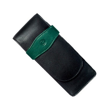 Chartpak Pelikan Black/ Green Leather Triple Pen Case