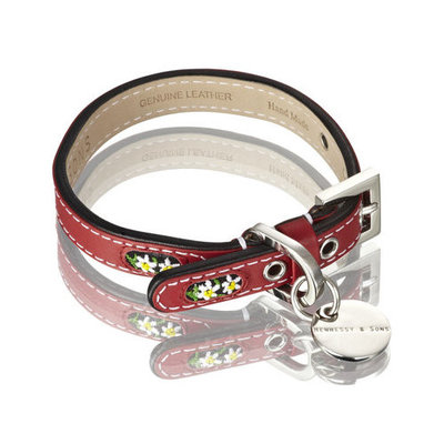Hennessy and Sons Hennessy & Sons Edelweiss Handmade Leather Dog Collar with Swiss Edelweiss inserts in Swiss Red with White Flowers