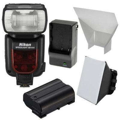 Nikon SB-910 AF Speedlight Flash with EN-EL15 Battery & Charger + Soft Box + Reflector for D7000, D7100, D610, D800 Digital SLR Camera