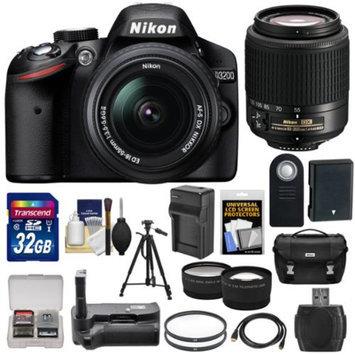 Nikon D3200 Digital SLR Camera & 18-55mm & 55-200mm DX AF-S Zoom Lens and Case with 32GB Card + Battery + Charger + Grip + Tripod + Tele/Wide Lens Kit