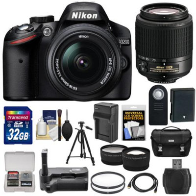 Nikon D3200 Digital SLR Camera & 18-55mm & 55-200mm DX AF-S Zoom Lens and Case with 32GB Card + Battery + Charger + Grip + Tripod + Tele/Wide Lens Kit