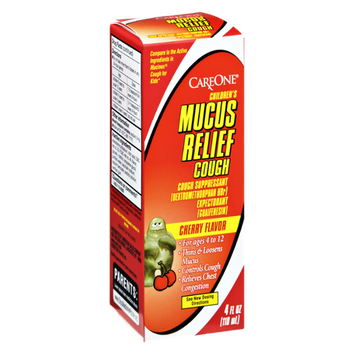 CareOne Children's Muscus Relief Cherry Flavor Ages 4-12 Cough Suppressant