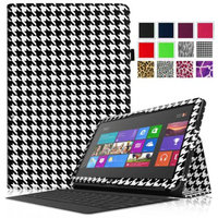 Fintie Folio Leather Case Cover for Microsoft Surface RT / Surface 2 10.6 inch Tablet, Houndstooth Black