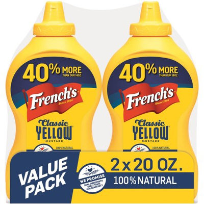 French's Classic Yellow Mustard, 20 oz, (Pack of 2)
