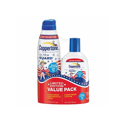 Coppertone Ultraguard Continuous Spray SPF 50 6 oz with Lotion SPF 50 4 oz (Value Pack)