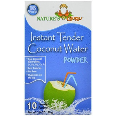 Nature's Guru Natural Instant Tender Coconut Water Powder, 10-Count Packages (Pack of 4)