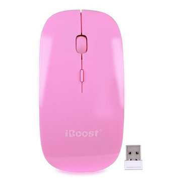 iBoost MS6131PK 2.4GHz Wireless 3-Button Optical Scroll Mouse w/Nano USB - Pink