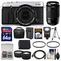 Fujifilm X-E2 Digital Camera & 18-55mm XF Lens (Silver) with 50-230mm OIS Lens + 64GB Card + Case + Flash + Battery + Tripod + Tele/Wide Lens Kit