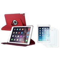 Insten INSTEN For iPad Air 2 2nd Gen Red Ultra Slim Leather 360 Degree Rotating Cover Case with Stand + 3x Protector