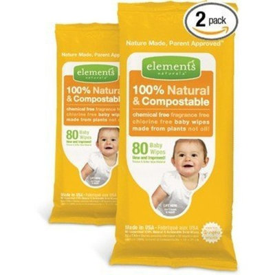 Elementsnaturals.com Elements 100% Natural & Compostable Chemical Free, Fragrance Free, Chlorine Free Baby Wipes, 80 Wipes