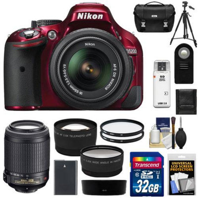 Nikon D5200 Digital SLR Camera & 18-55mm G VR DX AF-S Zoom Lens (Red) with 55-200mm VR Lens + 32GB Card + Battery + Case + Filters + Telephoto & Wide-Angle Lenses + Tripod + Accessory Kit