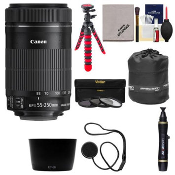 Canon EF-S 55-250mm f/4.0-5.6 IS II Zoom Lens with Case + Flex Tripod + 3 UV/CPL/ND8 Filters + Hood Kit