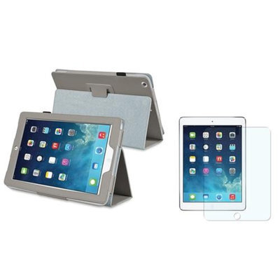 Insten INSTEN Grey Leather Case Stand Cover+Matte LCD Protector For Apple iPad Air 5 5th Gen