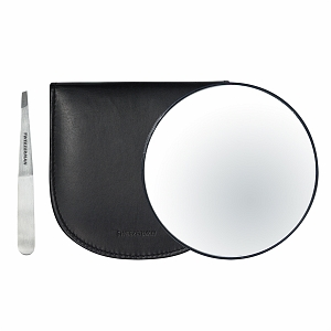 Tweezerman Stainless Steel Slant Tweezer & 10x Magnifying Mirror in Luxurious Leather Case