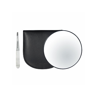 Tweezerman Stainless Steel Slant Tweezer & 10x Magnifying Mirror in Luxurious Leather Case