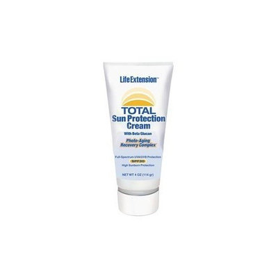 Life Extension Total Sun Protection Cream with Beta Glucan (SPF 30), 4-Ounce