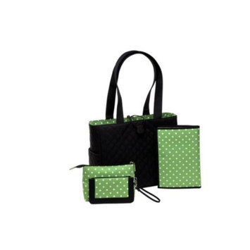 JP Lizzy Sprout Tote Set in Black & Green