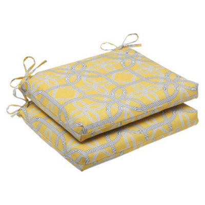 Pillow Perfect Outdoor 2-Piece Square Edge Seat Cushion Set - Yellow/Gray Keene