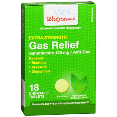 Walgreens Extra Strength Gas Relief, Peppermint Creme, 18 ea