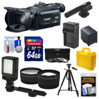Canon Vixia HF G30 Flash Memory Wi-Fi 1080p HD Digital Video Camcorder with 64GB Card + Battery & Charger + Case + LED Video Light + Microphone + 3 Filters + Tripod + Tele/Wide Lenses Kit