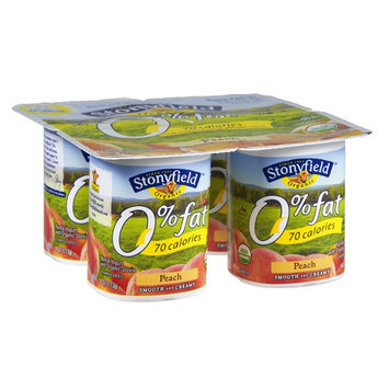 Stonyfield 0% Fat Peach Smooth and Creamy Organic Yogurt - 4 PK