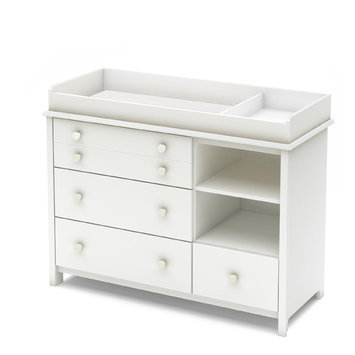 Southshore Little Smileys Shelving Unit with Drawers, Pure White