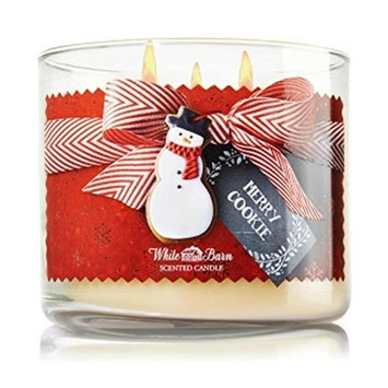 Bath & Body Works Merry Cookie Candle 3 Wick 14.5 Oz 2014 White Barn