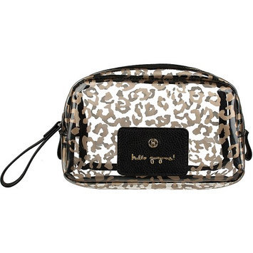 Boulevard Hello Gorgeous! Gumdrop Glass Bag Leopard with Black Leather - Boulevard Ladies Cosmetic Bags