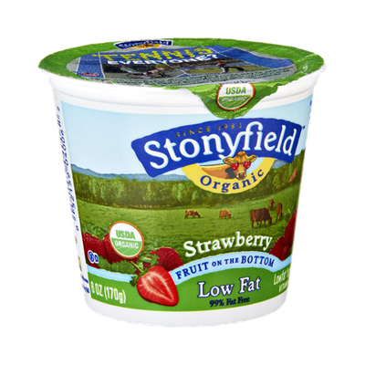 Stonyfield Organic Strawberry Fruit On The Bottom Low Fat Yogurt