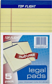 Top Flight 8105 5 Legal Pad 5 Quot X8 Quot Yellow Pack Of 12 HOP0OE0A6-0320