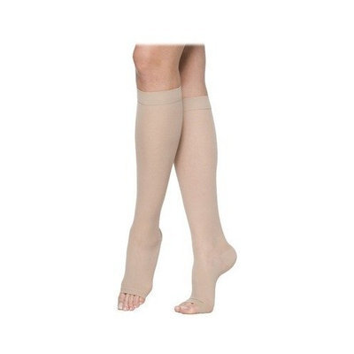 Sigvaris 770 Truly Transparent 20-30 mmHg Women's Open Toe Knee High Sock Size: Small Short, Color: Natural 33
