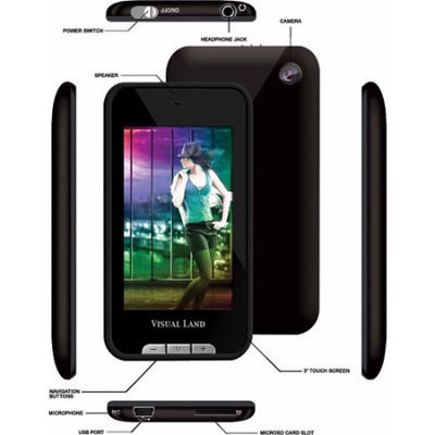 Visual Land - V-Touch Pro 8GB Video MP3 Player - Black