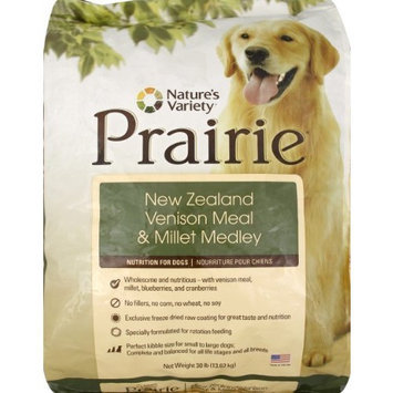 Prairie New Zealand Venison Meal & Millet Medley Dry Dog Food by Nature's Variety, 30-Pound Bag