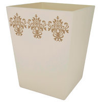 Allure Home Cannon Wooden Wastebasket Ivory - ALLURE HOME CREATION CO. INC.