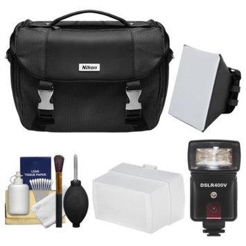 Nikon Deluxe Digital SLR Camera Case Bag with LED Video Light & Flash + SoftBox + Diffuser Kit for D3200, D3300, D5200, D5300, D7100, D610, D750, D810