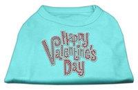 Ahi Happy Valentines Day Rhinestone Dog Shirt Aqua XL (16)