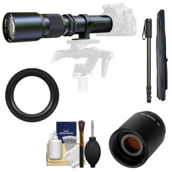 Samyang 500mm f/8.0 Telephoto Lens with 2x Teleconverter (=1000mm) + Monopod Kit for Sony Alpha DSLR SLT-A35, A37, A55, A57, A65, A77 Digital SLR Cameras