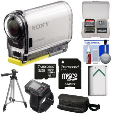 Sony Action Cam HDR-AS100VR Wi-Fi GPS HD Video Camera Camcorder & Live View Remote with 32GB Card + Battery + Case + Tripod + Kit