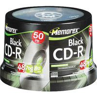Memorex 04751 CD-R Discs- 700MB/80min- 48x- Spindle- Black- 50/Pack