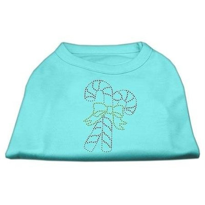 Mirage Pet Products 522503 XXLAQ Candy Cane Rhinestone Shirt Aqua XXL 18